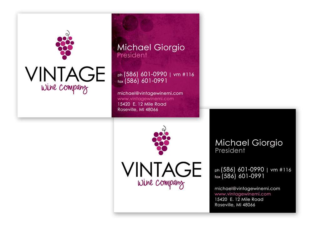 Vintage Wine Company Business Card Design
