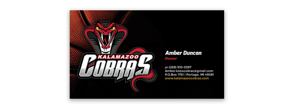 Kalamazoo Cobras Business Card